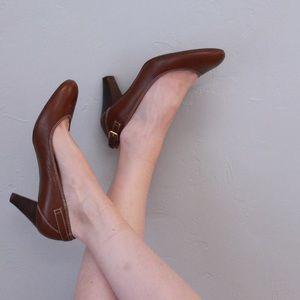 Ralph Lauren Brown Leather Heels Sz 8